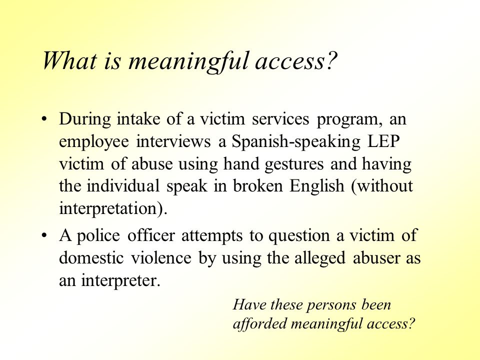 What is meaningful access