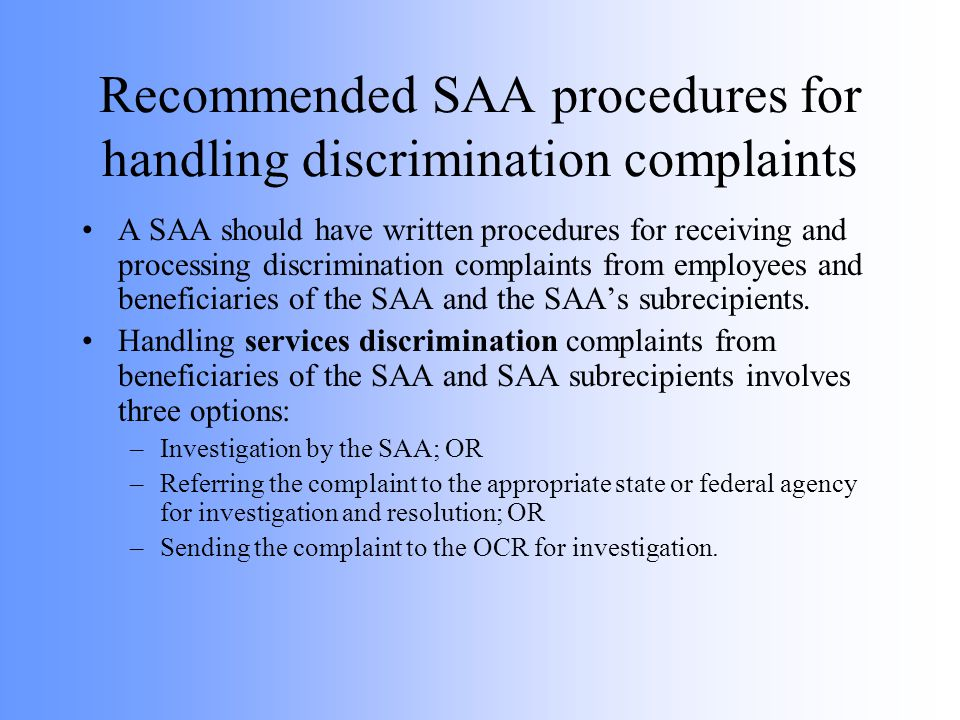 Recommended SAA procedures for handling discrimination complaints