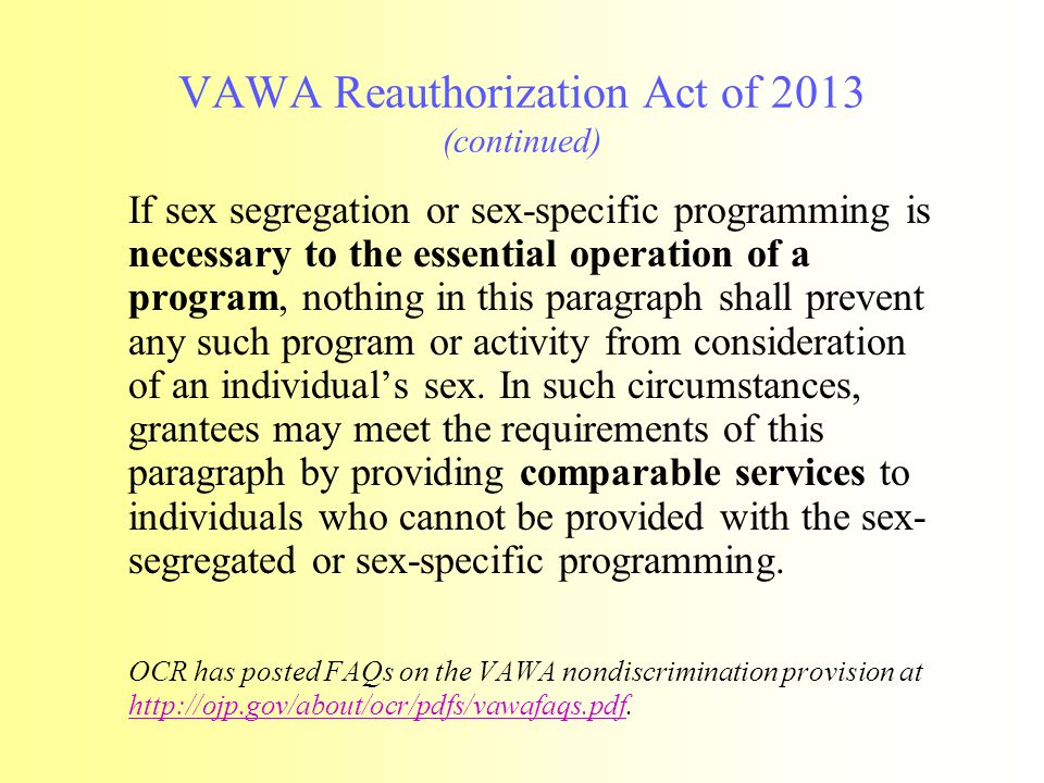 VAWA Reauthorization Act of 2013 (continued)
