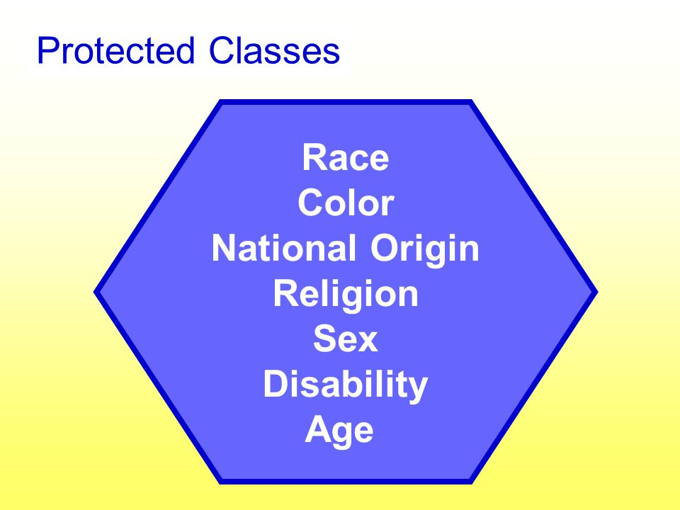 Protected Classes Race Color National Origin Religion Sex Disability Age