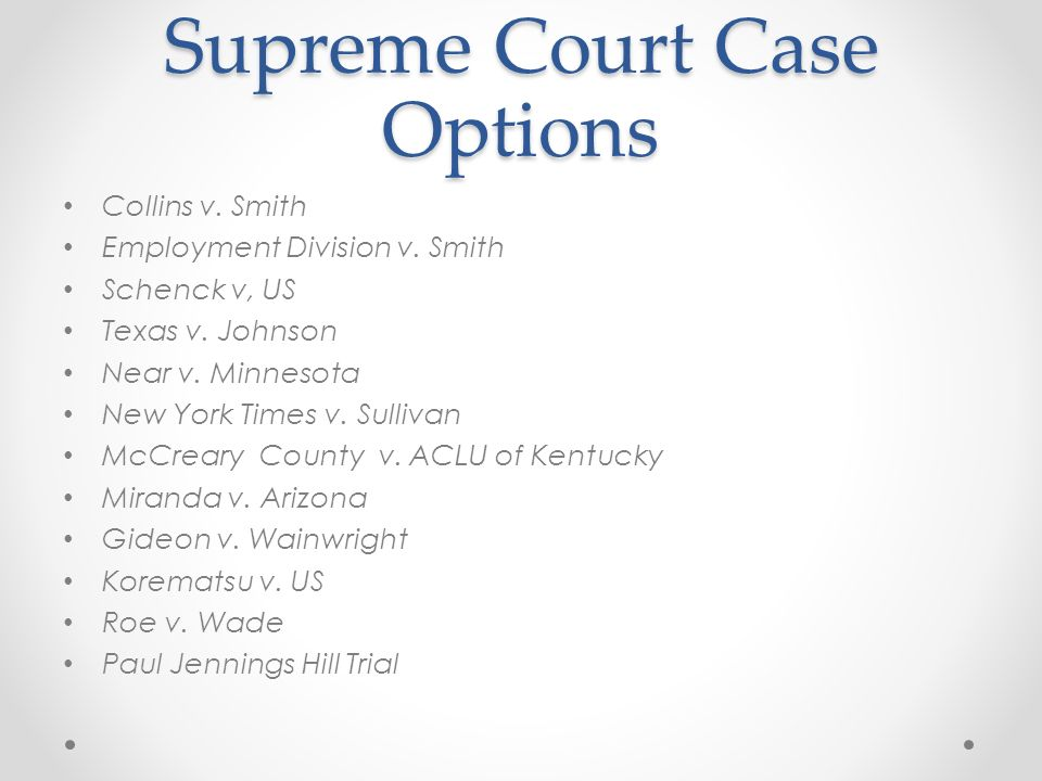 Supreme Court Case Options