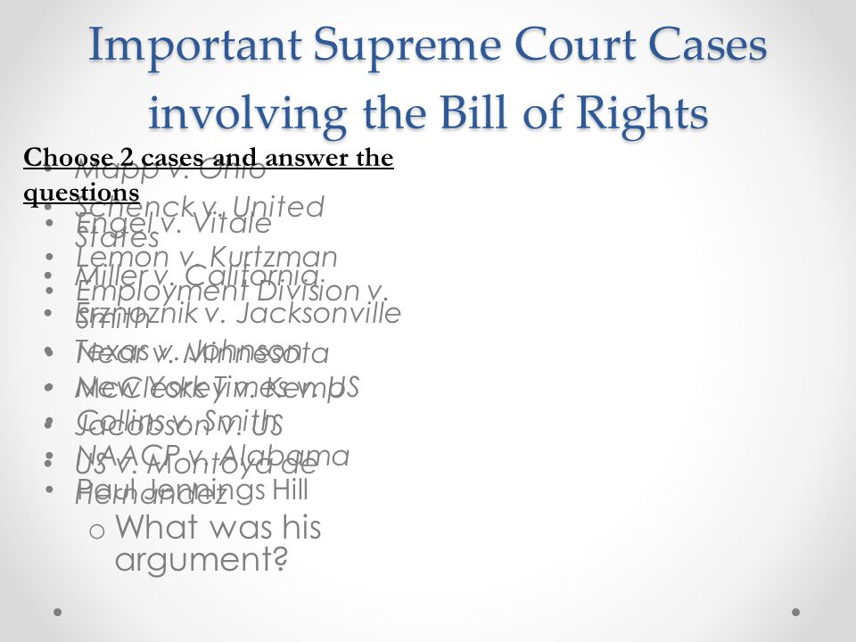 Important Supreme Court Cases involving the Bill of Rights