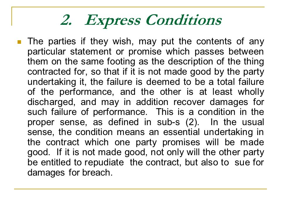 2. Express Conditions