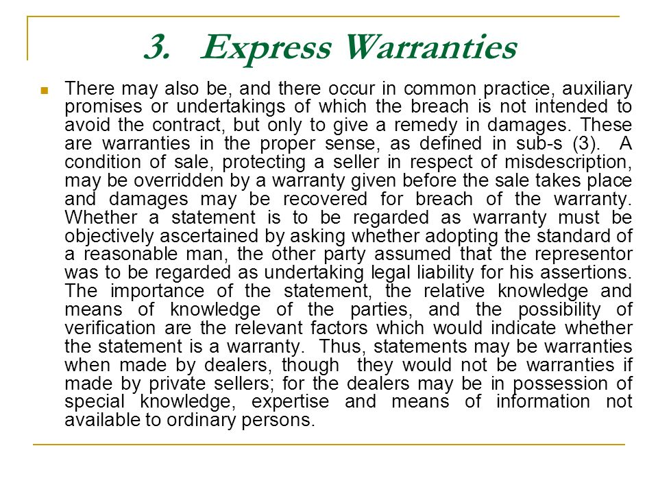 3. Express Warranties