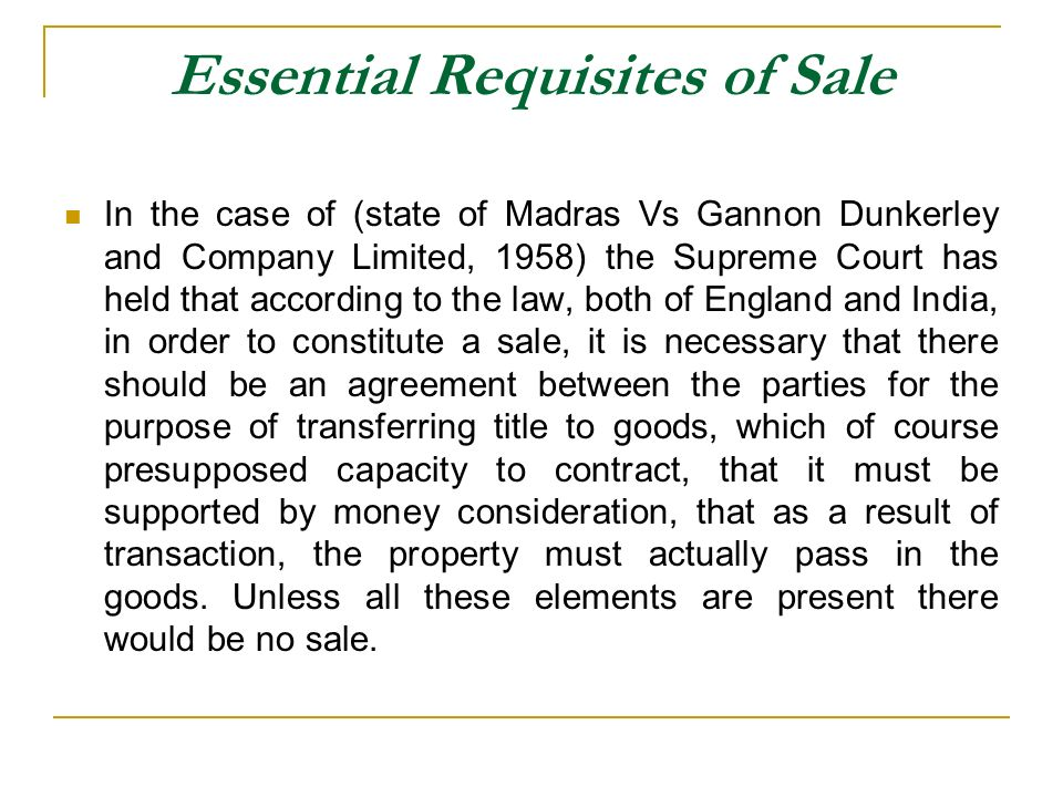 Essential Requisites of Sale