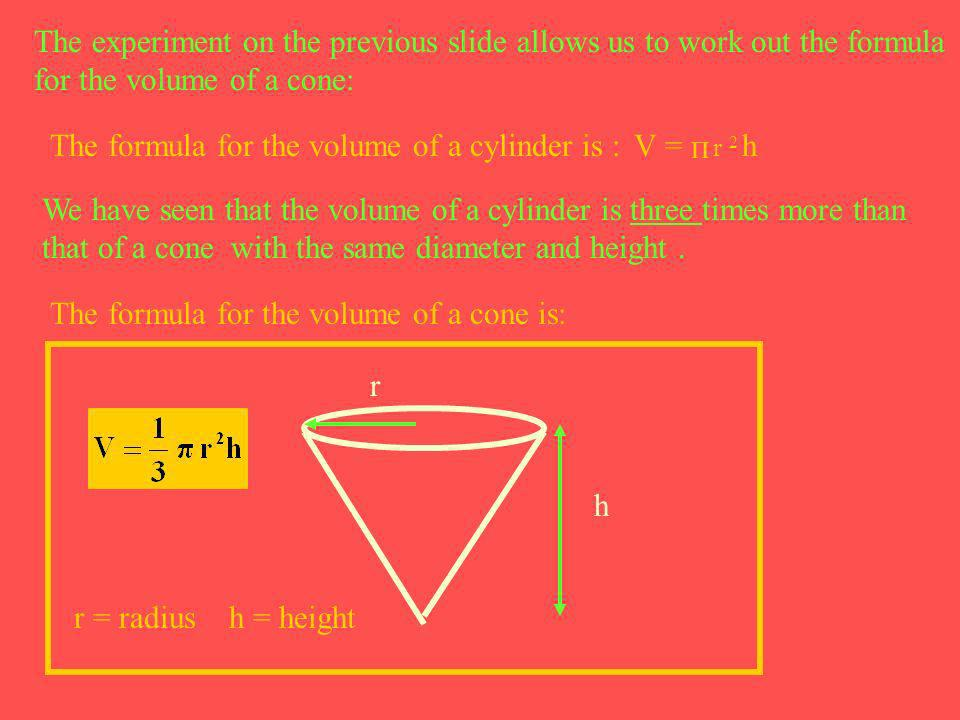 The experiment on the previous slide allows us to work out the formula for the volume of a cone: