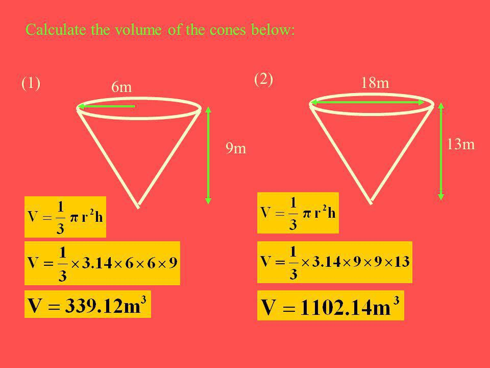 Calculate the volume of the cones below: