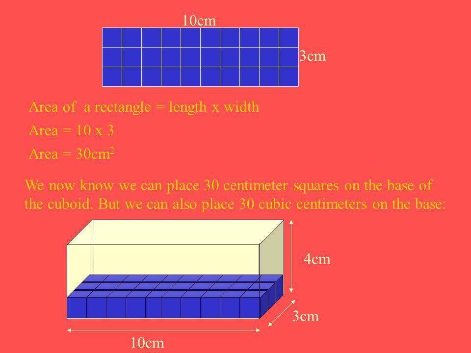 3cm 10cm. Area of a rectangle = length x width. Area = 10 x 3. Area = 30cm2.