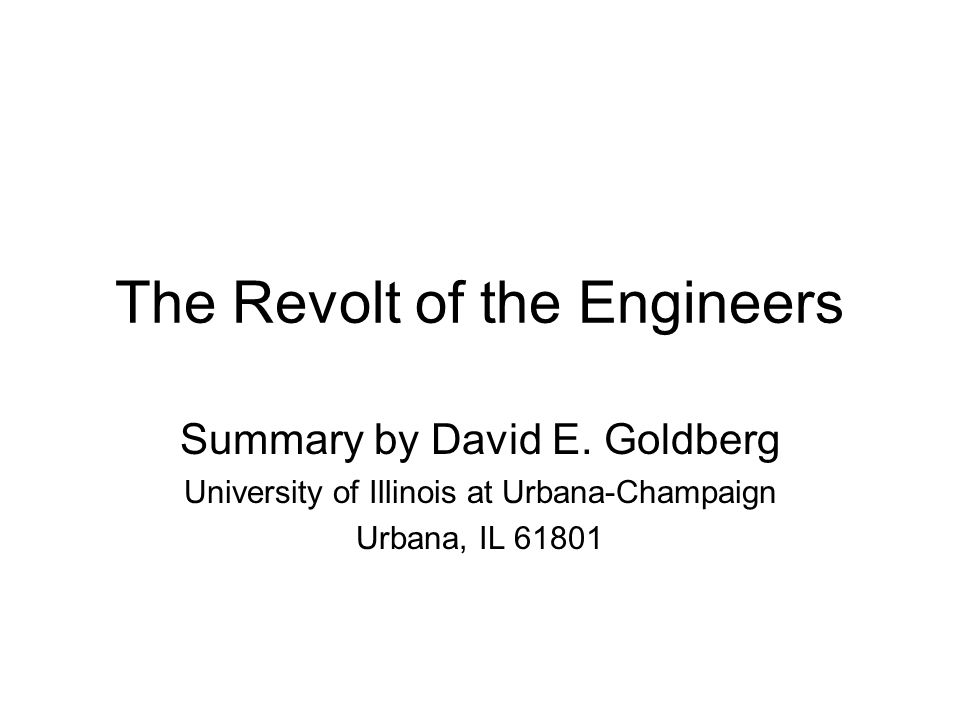 The Revolt of the Engineers