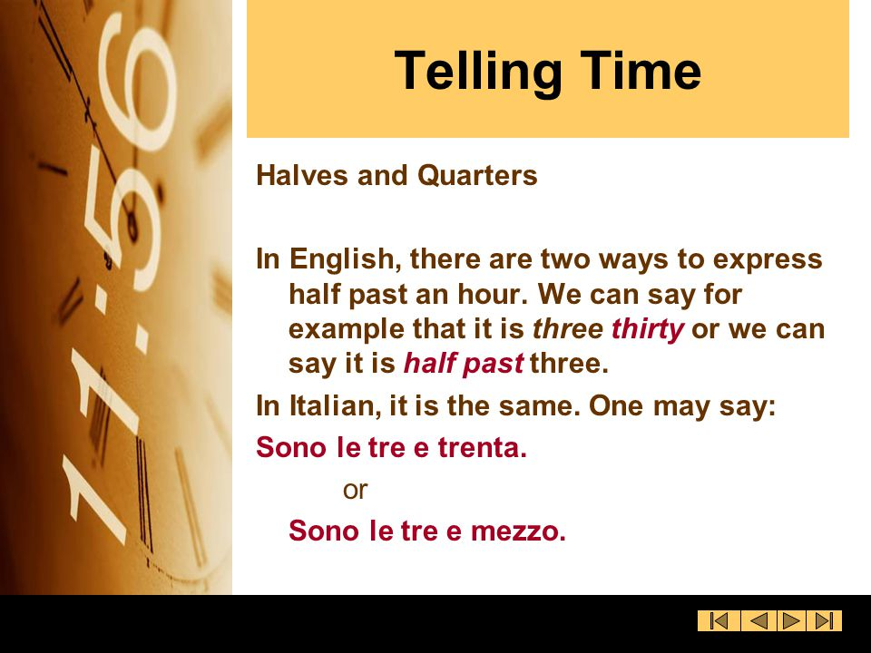 Telling Time Halves and Quarters