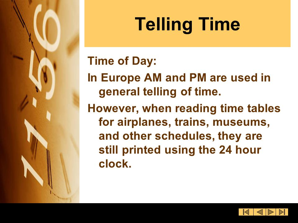 Telling Time Time of Day: