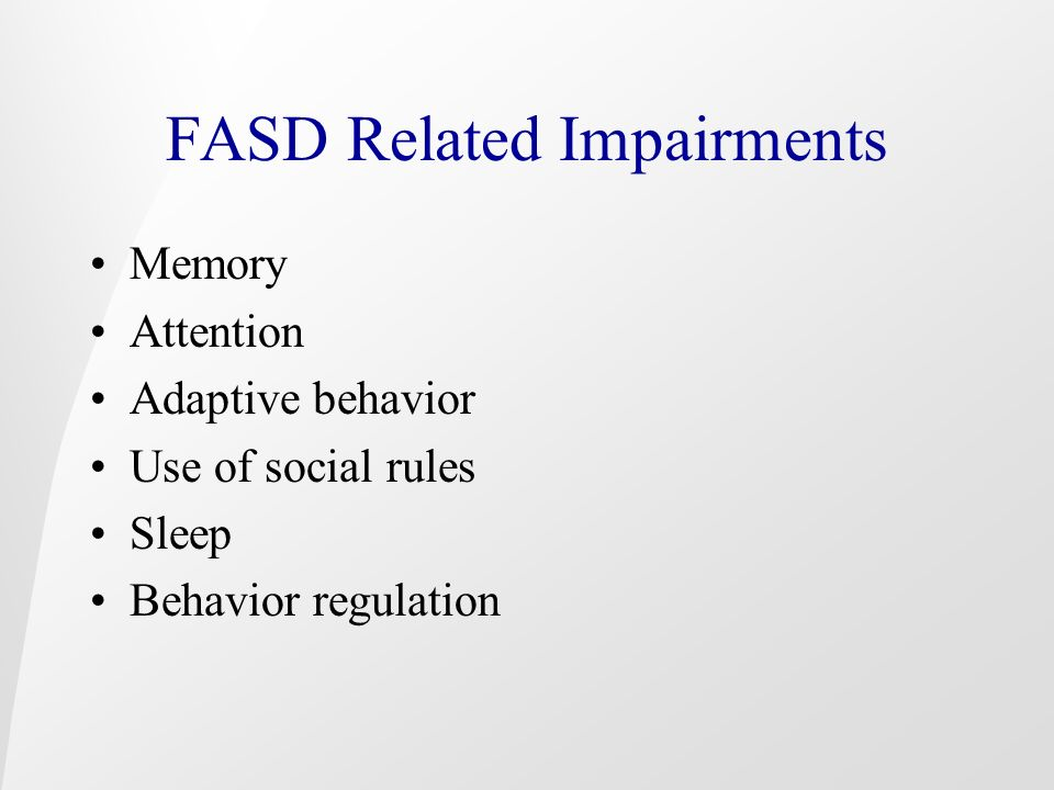 FASD Related Impairments