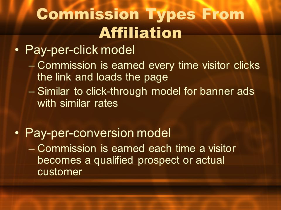 Commission Types From Affiliation