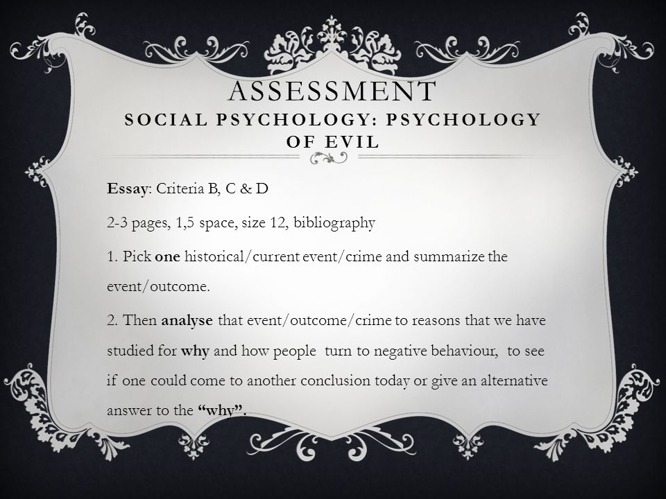 Assessment Social Psychology: Psychology of Evil