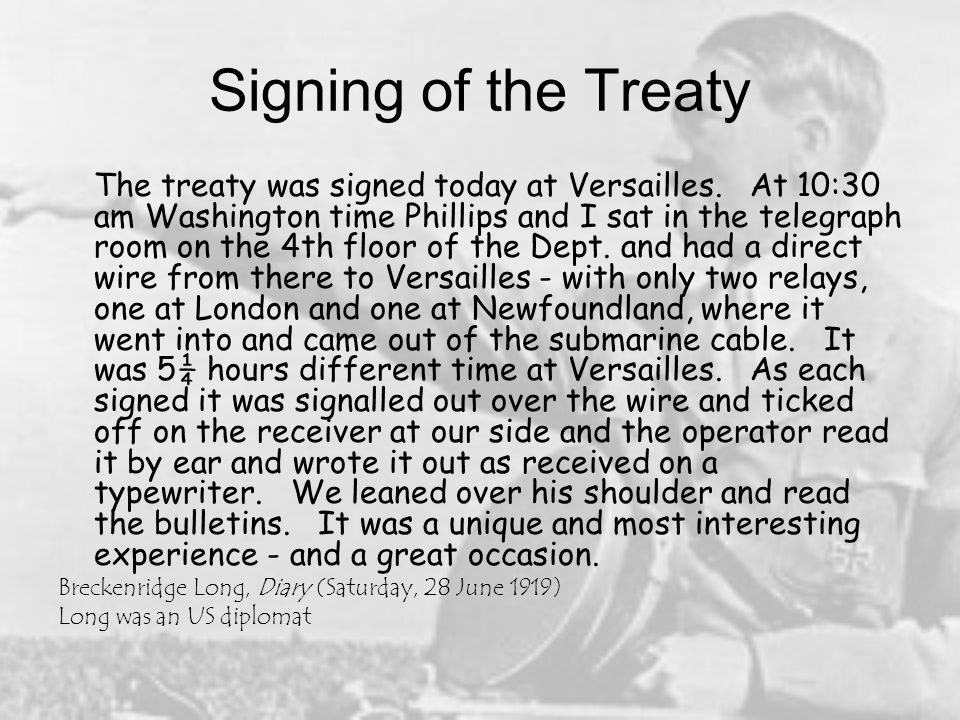 The Treaty of Versailles and its Consequences