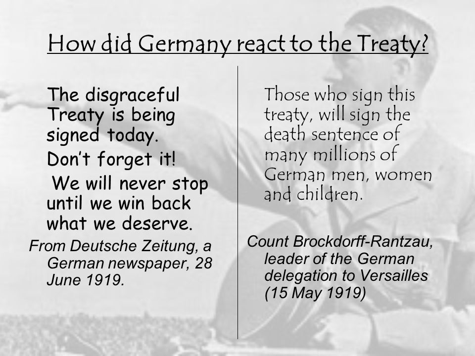 How did Germany react to the Treaty