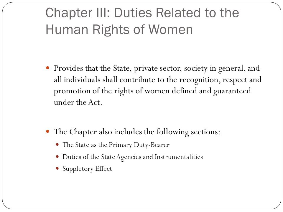 Chapter III: Duties Related to the Human Rights of Women