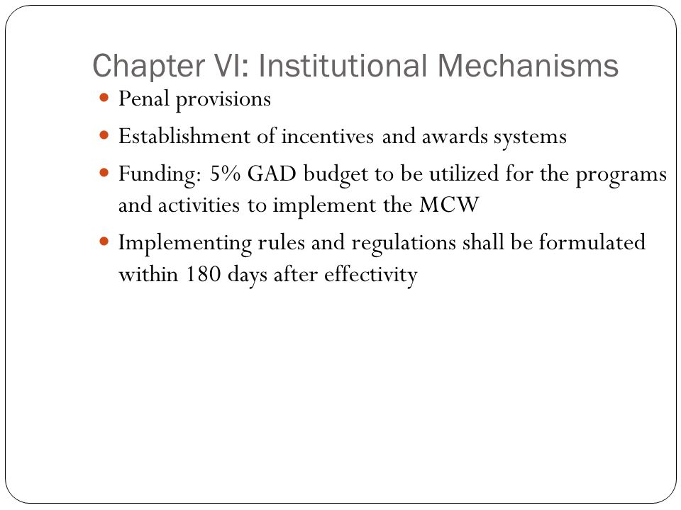 Chapter VI: Institutional Mechanisms