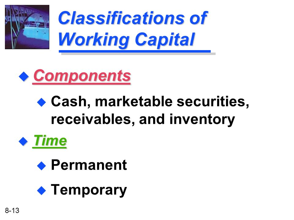 Classifications of Working Capital
