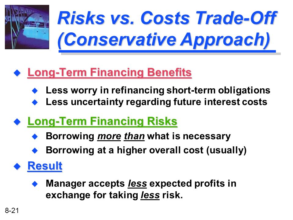 Risks vs. Costs Trade-Off (Conservative Approach)