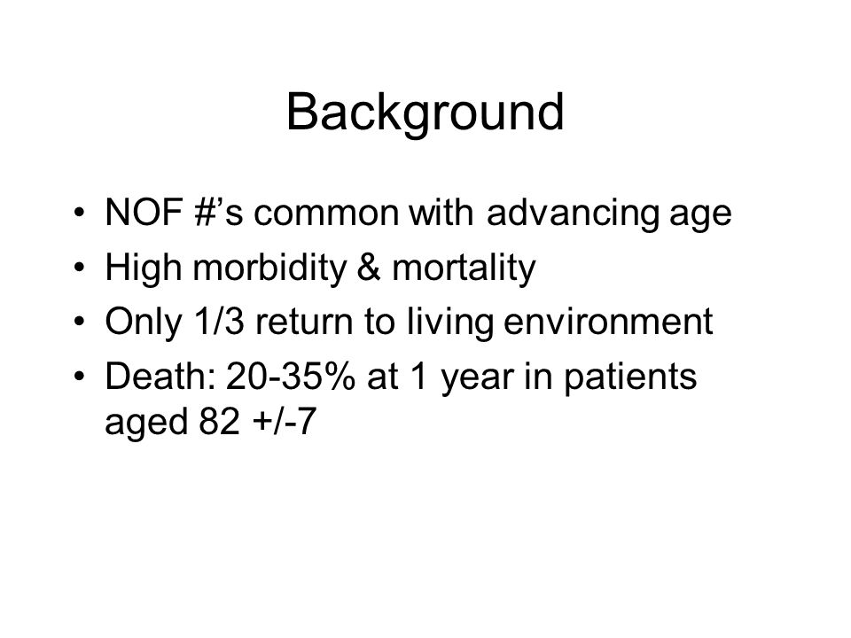 Background NOF #'s common with advancing age