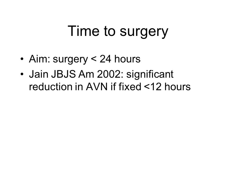 Time to surgery Aim: surgery < 24 hours