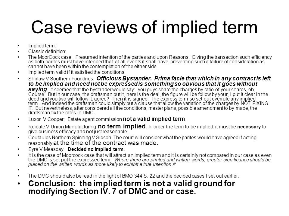Case reviews of implied term