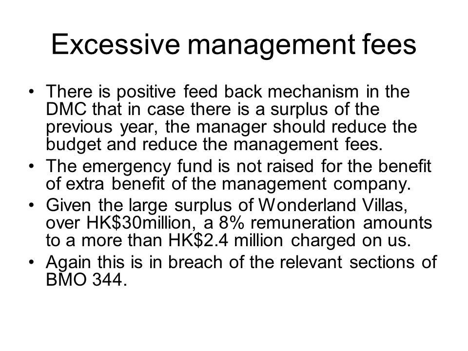 Excessive management fees
