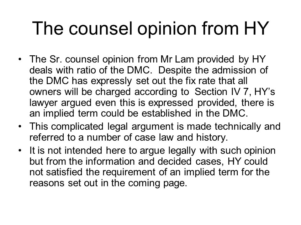 The counsel opinion from HY
