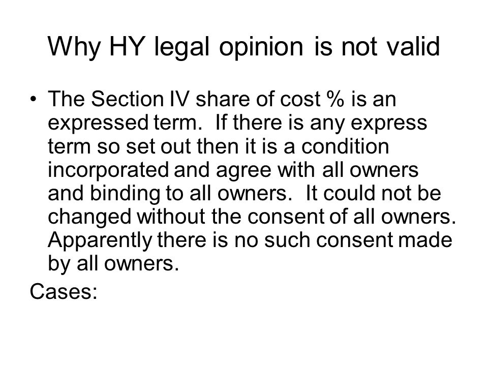 Why HY legal opinion is not valid