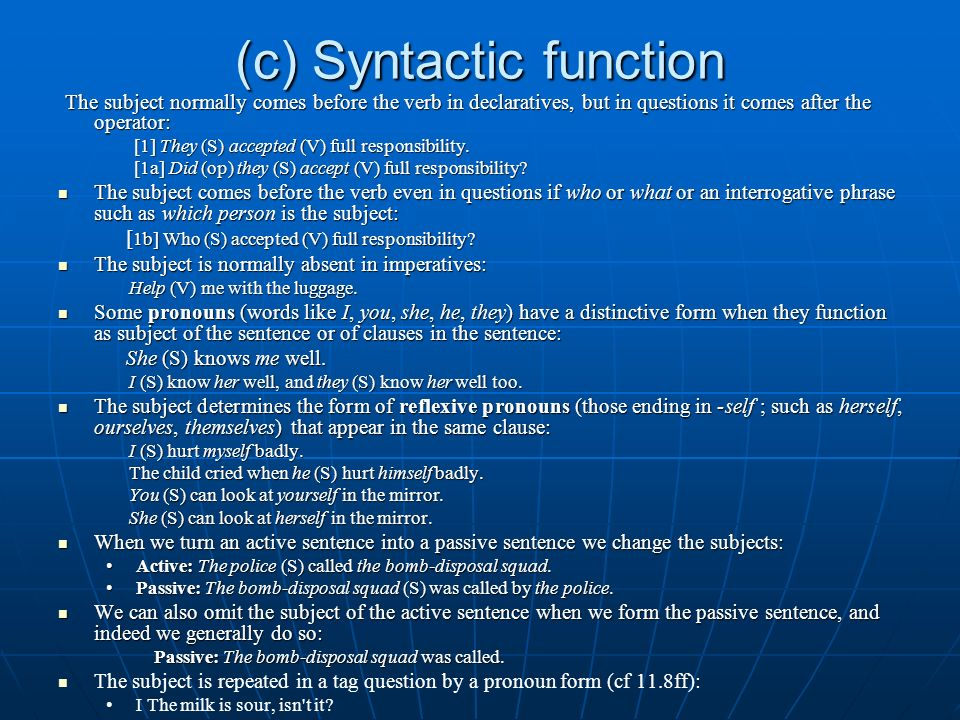(c) Syntactic function