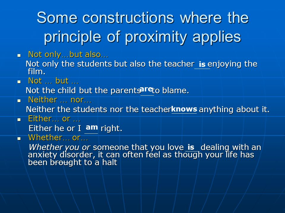 Some constructions where the principle of proximity applies