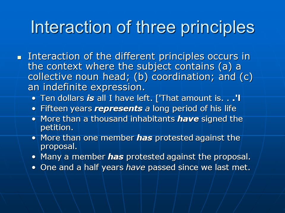 Interaction of three principles