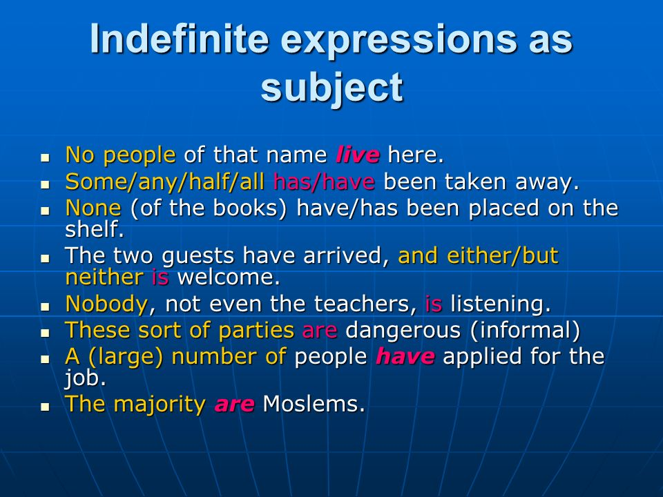 Indefinite expressions as subject