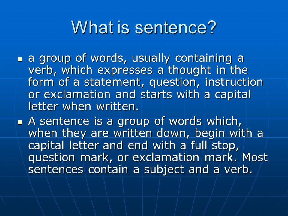 What is sentence