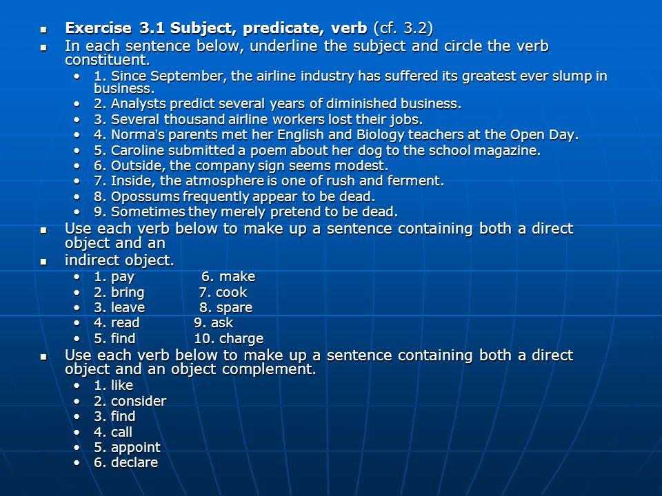 Exercise 3.1 Subject, predicate, verb (cf. 3.2)