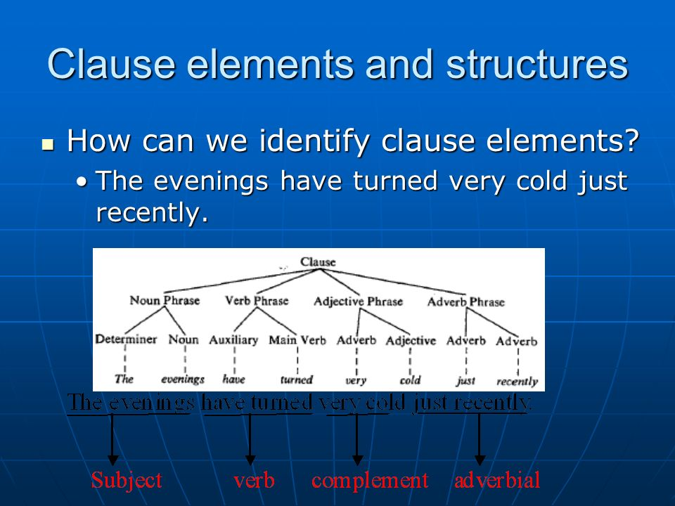 Clause elements and structures