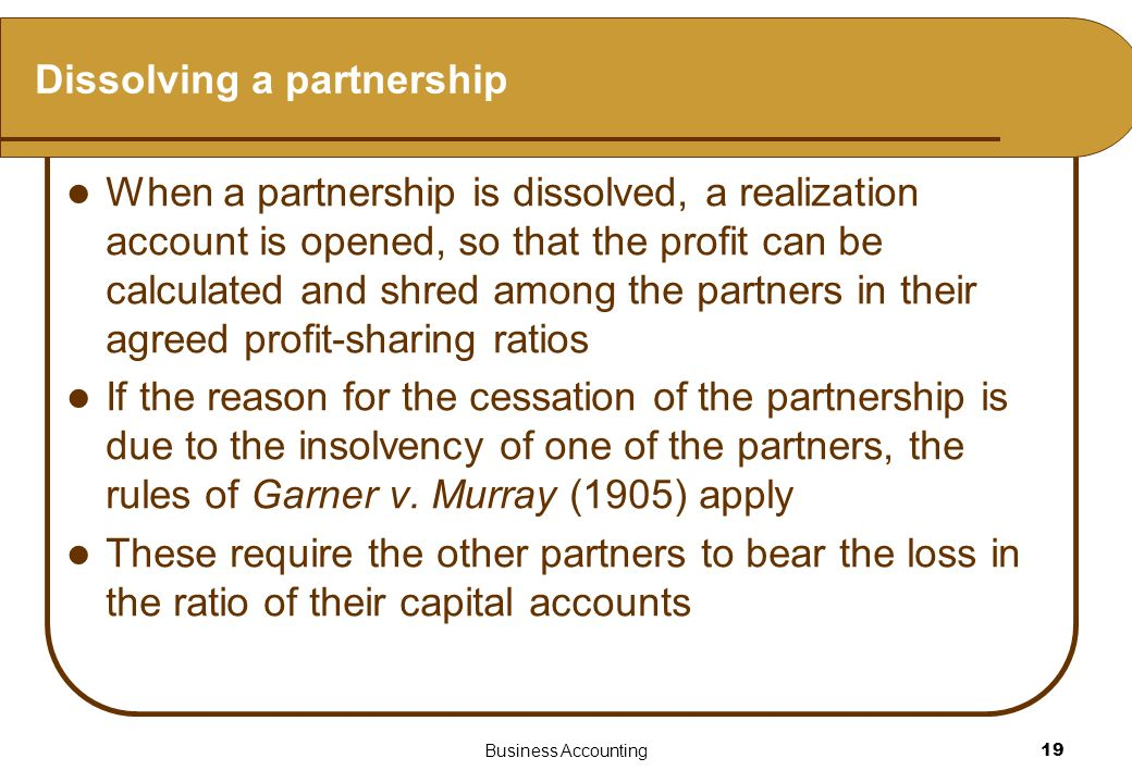Dissolving a partnership