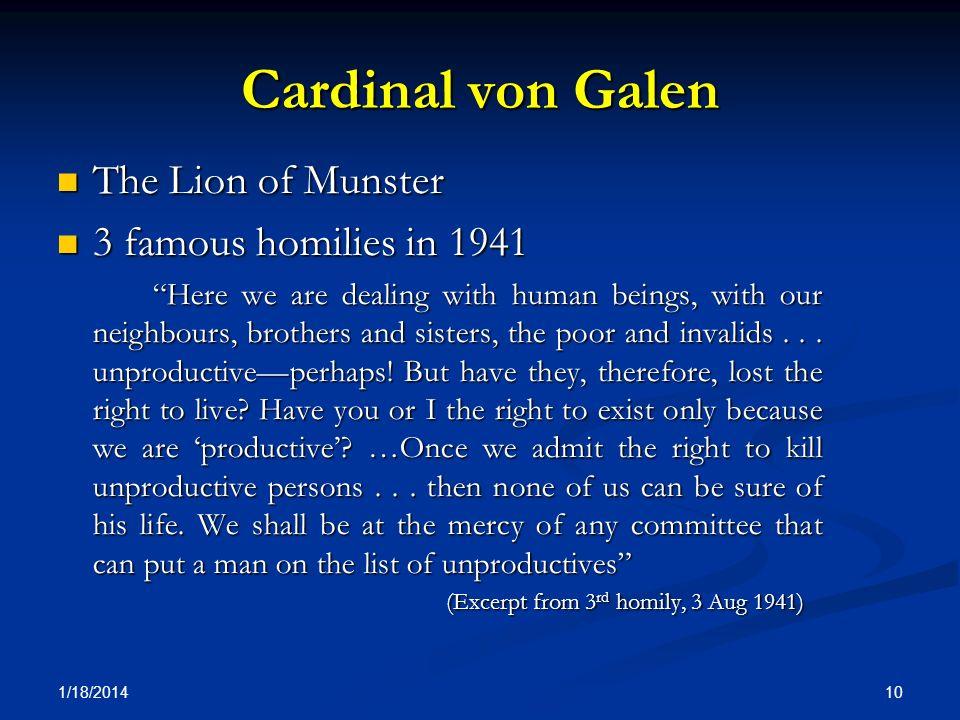 Cardinal von Galen The Lion of Munster 3 famous homilies in 1941