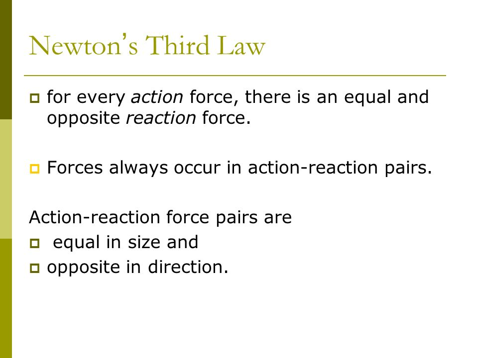Newton's Third Law Chapter 11