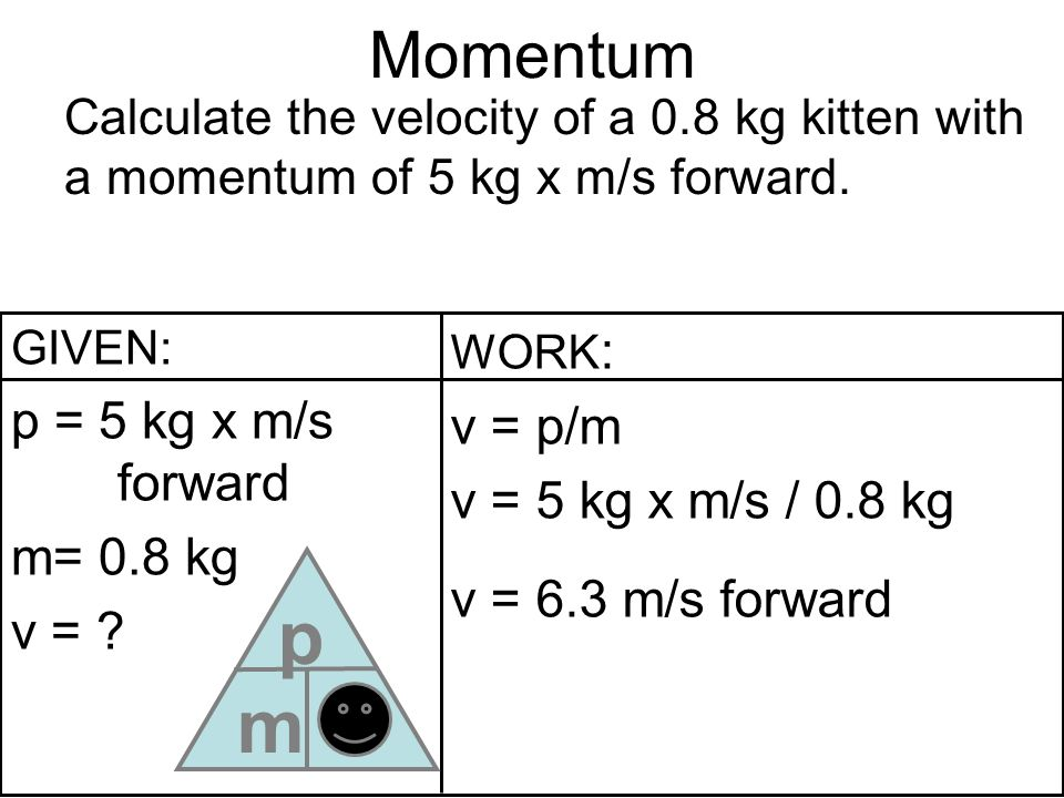 m p v Momentum p = 5 kg x m/s forward v = p/m v = 5 kg x m/s / 0.8 kg