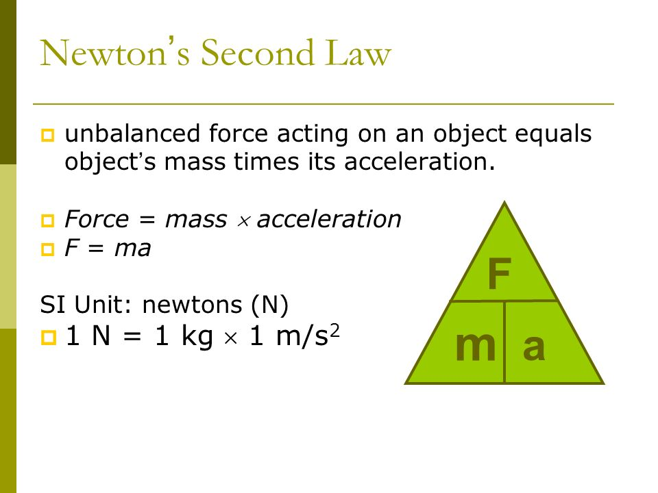 m F a Newton's Second Law 1 N = 1 kg  1 m/s2
