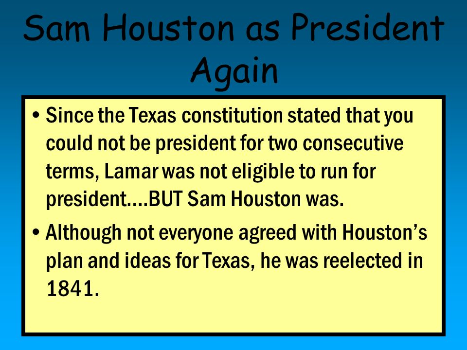 Sam Houston as President Again