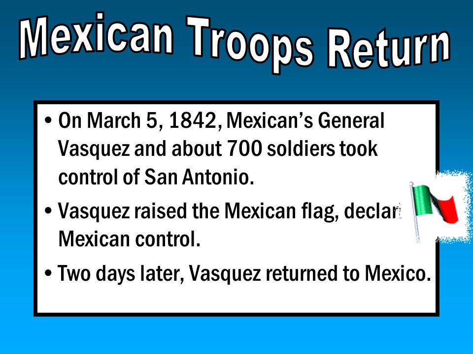 Mexican Troops Return On March 5, 1842, Mexican's General Vasquez and about 700 soldiers took control of San Antonio.