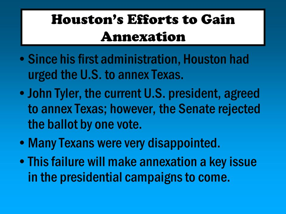 Houston's Efforts to Gain Annexation