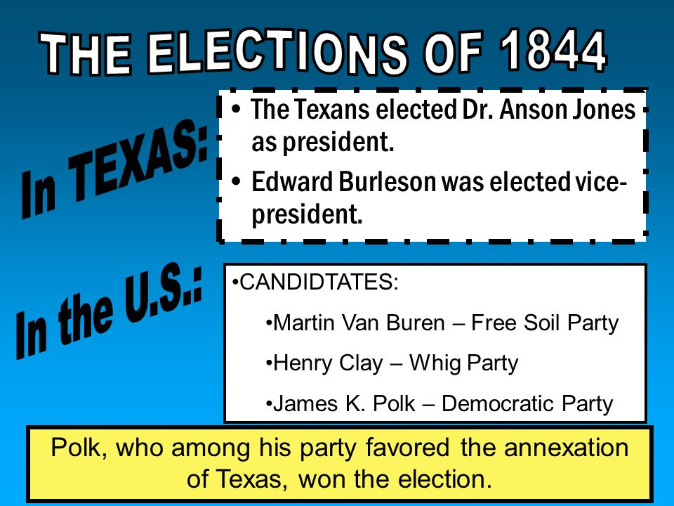 THE ELECTIONS OF 1844 In TEXAS: In the U.S.: