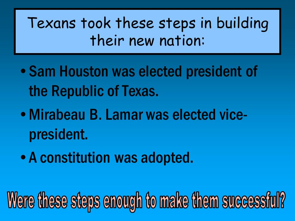Texans took these steps in building their new nation: