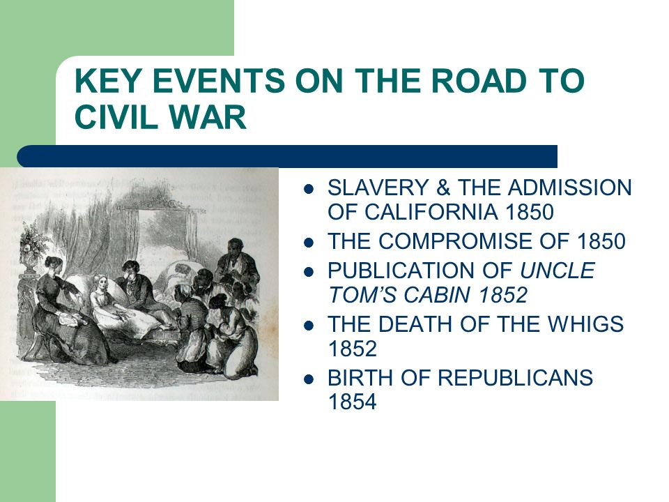 KEY EVENTS ON THE ROAD TO CIVIL WAR