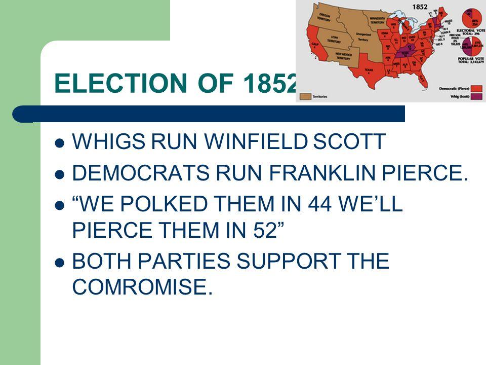 ELECTION OF 1852 WHIGS RUN WINFIELD SCOTT