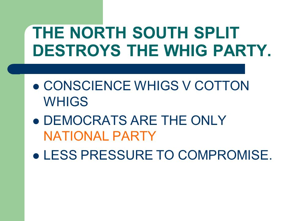 THE NORTH SOUTH SPLIT DESTROYS THE WHIG PARTY.